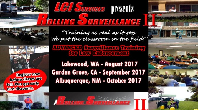 Advanced Mobile Surveillance Training, Rolling Surveillance II, in WA, CA, and NM.