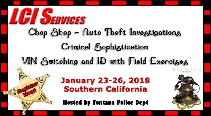 Auto Theft Investigations Training, Chop Shops, Criminal Sophistication, VIN switching