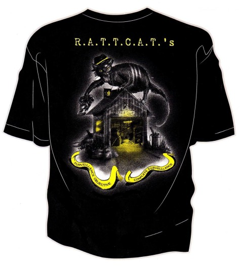 The back of our R.A.T.T.C.A.T.'S Black t-shirt