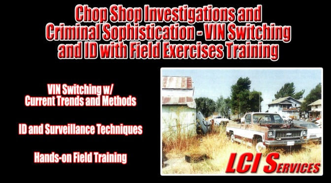 Chop Shop Investigations Training for Law Enforcement